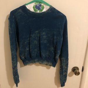 Cotton Citizen distressed crop sweatshirt.